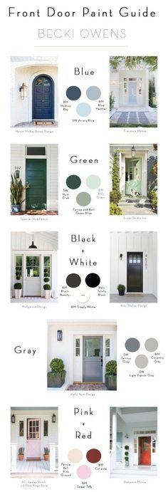 Front door paint guide and colour inspirations.