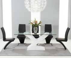 Natalie White High Gloss Glass Top Dining Set - with 6 Black Hereford Chairs