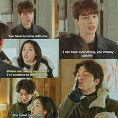'Cheesy Goblin' I love this scene! *Oof meant to put this in another board* Korean Drama Funny, Korean Drama Quotes, Lee Dong Wook, Gong Yoo, Goblin Funny, Goblin Kdrama Funny, Lee Min Ho, K Pop, Goblin The Lonely And Great God
