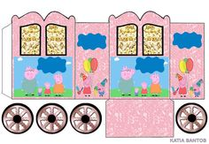 Peppa Pig and Family: Princess Carriage Shaped Free Printable Boxes. Peppa Pig Printables, Free Printables, Aniversario Peppa Pig, Oh My Fiesta, Pop Corn, Printable Box, Pig Party, Party In A Box, Diy Box