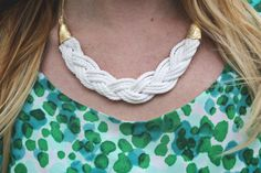 DIY braided necklace using parachute cord (also advises to gold leaf the tape that closes the necklace to look more like real meta) - from A Beautiful Mess