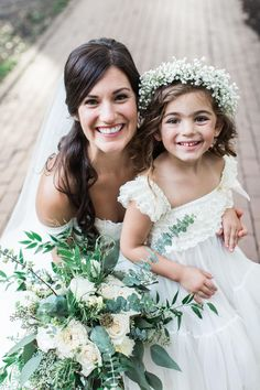 Boho natural wedding style, baby's breath flower crown, ruffled lace bodice, white rose bouquet, veil // Apt. B Photography