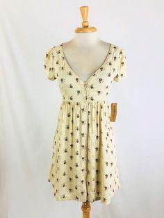 bbca931cbb  DenimDress New Ralph Lauren Denim   Supply Cream Brown Floral Babydoll  Dress Size S -