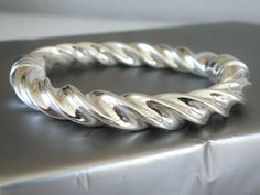 """BIG Milor Italy Sterling Silver 950 Chunky Cable Twist Clamp Bangle Bracelet 7"""" #Milor #Bangle"""