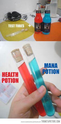Rouge : Potion de vie / Bleu : potion de mana.
