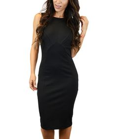 Another great find on #zulily! Black Zip-Back Midi Dress #zulilyfinds