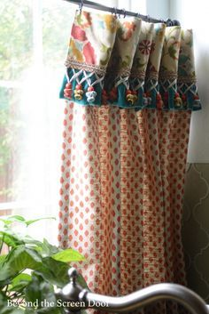 two fabric cafe curtains valance - Google Search