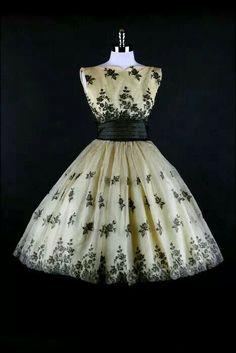 Cream and black vintage style dress