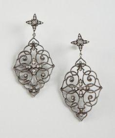 Leslie Greene : antiqued silver and diamond ornate cutout earrings