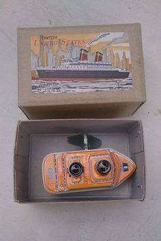 VINTAGE TIN LITHO BUILT IN KEY WIND UP UNITED STATES BOAT MADE IN JAPAN WITH BOX | eBay