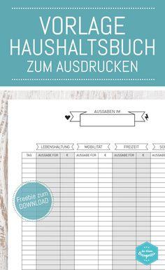 Haushaltsbuch Vorlage zum Download und Ausdrucken auf www.die-kleine-designerei.com