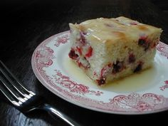 Cranberry Dessert Cake with Warm Butter Sauce...a fall and winter staple for us.