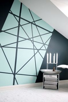 Creating an accent wall can be more than just adding paint color. See five inspiring accent wall ideas that can totally transform any room in your home. Modern wall paint design home decor idea Diy Wall Painting, Creative Wall Painting, Wall Paintings, Painting Accent Walls, House Painting, Painted Wall Art, Paint Walls, Light Painting, Diy Wand