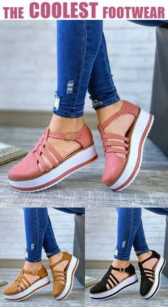 Women Hollow-out Buckle Strap Creepers Platform Sandals Cute Sandals, Cute Shoes, Me Too Shoes, Wedge Sandals, Fashion Slippers, Fashion Boots, Sneakers Fashion, Prom Shoes Silver, Womens Summer Shoes
