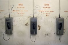 Prison payphones on a wall