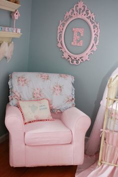 Love the letter with victorian pic frame. shabby chic nursery - you can use blue with the pink and cream. that way, you don't have to worry about the chair