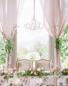 Elegant Draped Wedding Reception with a Crystal Chandelier Wedding Draping, Luxe Wedding, Luxury Wedding Dress, Glamorous Wedding, Lilac Wedding, Wedding Fabric, Summer Wedding, Wedding Bands, Wedding Venues