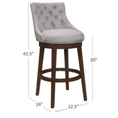 Hillsdale Furniture Halbrooke Swivel Bar Height Stool - Overstock - 14078943 - Chocolate and Cream - Bar Height - 29-32 in. Stools For Kitchen Island, Hillsdale Furniture, Bar Seating, Wood Stool, Chair Backs, Swivel Bar Stools, Tufting Buttons, Foot Rest, Upholstery
