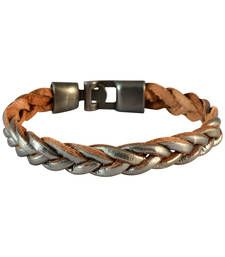 Buy Men Braided Leather Bracelet Silver color for Everyday wear Bracelet online