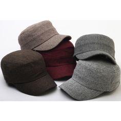 A66 New Urban Street Herringbone Pattern Basic Warm Army Cap Cadet Military Hat