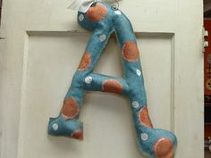 Blue and Coral Burlap Monogram Door Hanger by Burlapulous on Etsy, $32.00