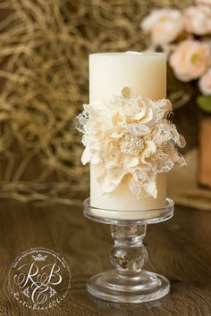 Ivory wedding unity candles handmade flower by RusticBeachChic