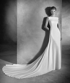 Emery - Vestido de noiva estilo sereia e decote redondo