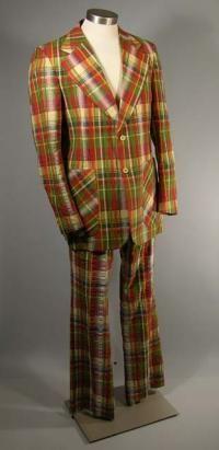 Men's cotton plaid seersucker suit, c. 1975. The Sage Collection, Indiana University.