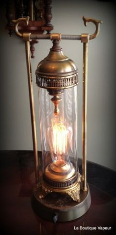 handmade horned canister steampunk tesla edison lamp light gift dimmer