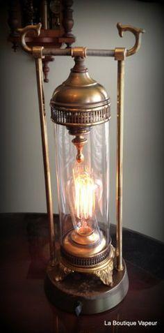 handmade horned canister steampunk tesla edison lamp light gift dimmer