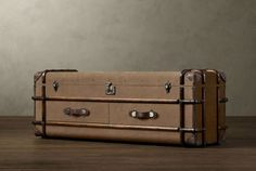 Refined Vintage Furniture Items Made Out of Old Trunks Old Trunks, Trunks And Chests, Trunk Furniture, Vintage Furniture, New Room, Restoration Hardware, Making Out, Storage Spaces, Suitcase