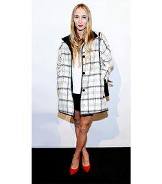 @Who What Wear - Harley Viera Newton                 Tip: Oversized Coat + Red Lip  On Newton: Club Monaco Georgia Plaid Wool Coat ($569); Club Monaco April Suede Pump ($249)  Get The Look: H&M Coat ($70)