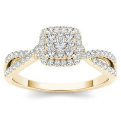 De Couer 10k Yellow Gold 1/2ct TDW Diamond Halo Engagement Ring (H-I, I2) (Size-6.75), Women's, Size: 6.75