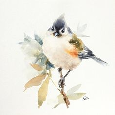 Titmouse  Original Watercolor Bird Painting 7 4/5 by CMwatercolors