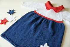 Patriotic baby dress knit baby dress 4th of July by BambinoStore