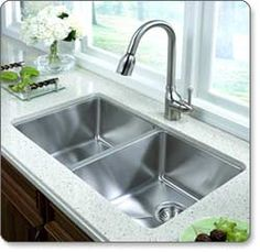 Houzer NOD-4200-1 Nouvelle 50/50 Double-Bowl Undermount Kitchen Sink (I like how deep this is)