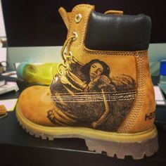 Timberland Boots Ink style Pyrography