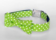 Dog Bow Tie Collar Green Dot by TheRoverBoutique on Etsy, $40.00 #roverboutiquelove