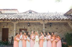 Gold and pastel wedding inspiration, with bridesmaids wearing Donna Morgan in Peach Fuzz, Blush, and Hint of Mint! // Long mix and match pastel bridesmaids // Photo by This Love of Yours Photography! http://thisloveofyours.com/