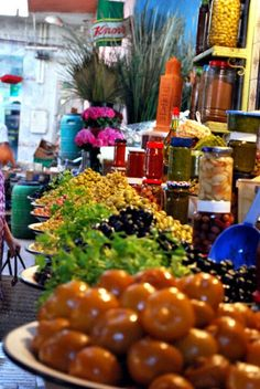 Olives and other deliciousness in the market - Marrekech, Morocco