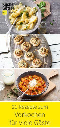 Du erwartest viele Gäste, hast aber vorher wenig Zeit zum Kochen? Rezepte zum Vorkochen müssen her! Keine Sorge, wir haben die passenden Gerichte parat, die du in Ruhe vorbereiten und dann am Tag des Besuchs servieren kannst. Curry, Appetizers, Snacks, Ethnic Recipes, Gourmet, Recipes, Cooking Recipes, Buffet Recipes, Curries