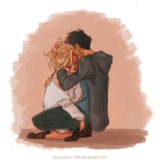 percabeth, percy jackson, and hug image Percy Jackson Fan Art, Percy Jackson Fandom, Percy Jackson Annabeth Chase, Cute Couple Drawings, Cute Drawings, Arte Latina, Oncle Rick, Percy And Annabeth, Trials Of Apollo