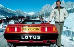Lotus Esprit Turbo and Roger Moore as James Bond from the film shoot For Your Eyes Only Lotus Esprit, Aston Martin, James Bond Cars, James Bond Movies, Roger Moore, Estilo James Bond, Detective, Dream Cars, Movies