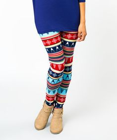 $5.99 Another great find on #zulily! Blue & Red Fair Isle Leggings #zulilyfinds
