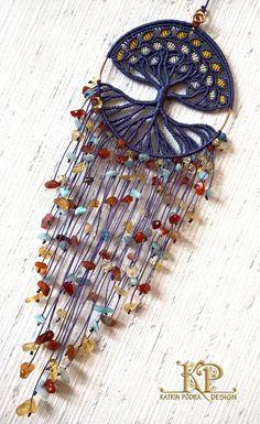 Árbol de la vida con cristales de aguamarina y por KatrinPodra