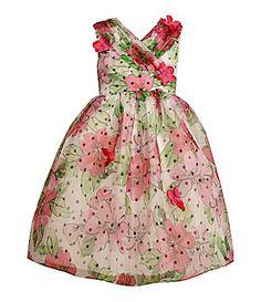 Bonnie Jean 716 FloralDotted Overlay Dress #Dillards