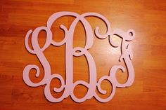 "Wall Monogram Wall Decor - Personalized Letters - 18"" x 22"" Painted Wooden Wall Decor - Wedding Gift, Door Wreath, Wall Monograms"