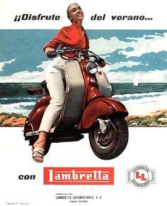 1957 Lambretta Disfrute del verano ... (Keijo K. Knutas) Tags: 1957 lambretta scooter motorcycle motorbike ad advert poster