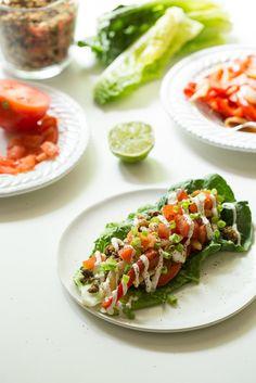 Ultimate Green Taco Wraps with Lentil Walnut Taco Meat (Vegan + Gluten Free) @Angela Liddon