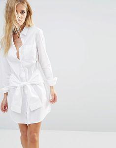 Noisy May - Robe chemise avec lien à nouer sur le devant